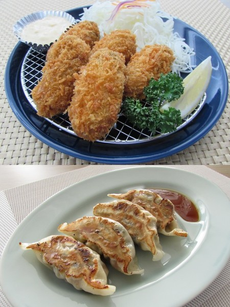 広島産ジャンボかきフライ400g(10個)×2パック・手作りジャンボ牡蠣餃子350g(10個)×1パック セット